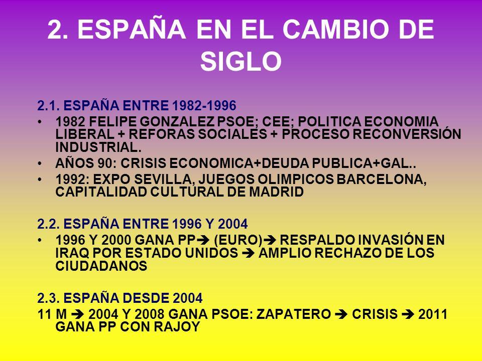 2. ESPAÑA EN EL CAMBIO DE SIGLO 2.1. ESPAÑA ENTRE 1982-1996 1982 FELIPE GONZALEZ PSOE; CEE; POLITICA ECONOMIA LIBERAL + REFORAS SOCIALES + PROCESO REC