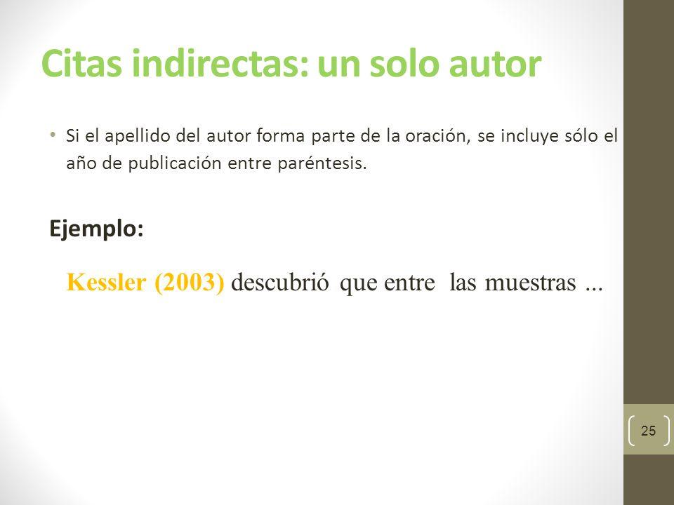 Citas indirectas: un solo autor Si el apellido del autor y la fecha de publicación no forman parte de la oración, ambos se incluyen entre paréntesis separados por una coma.