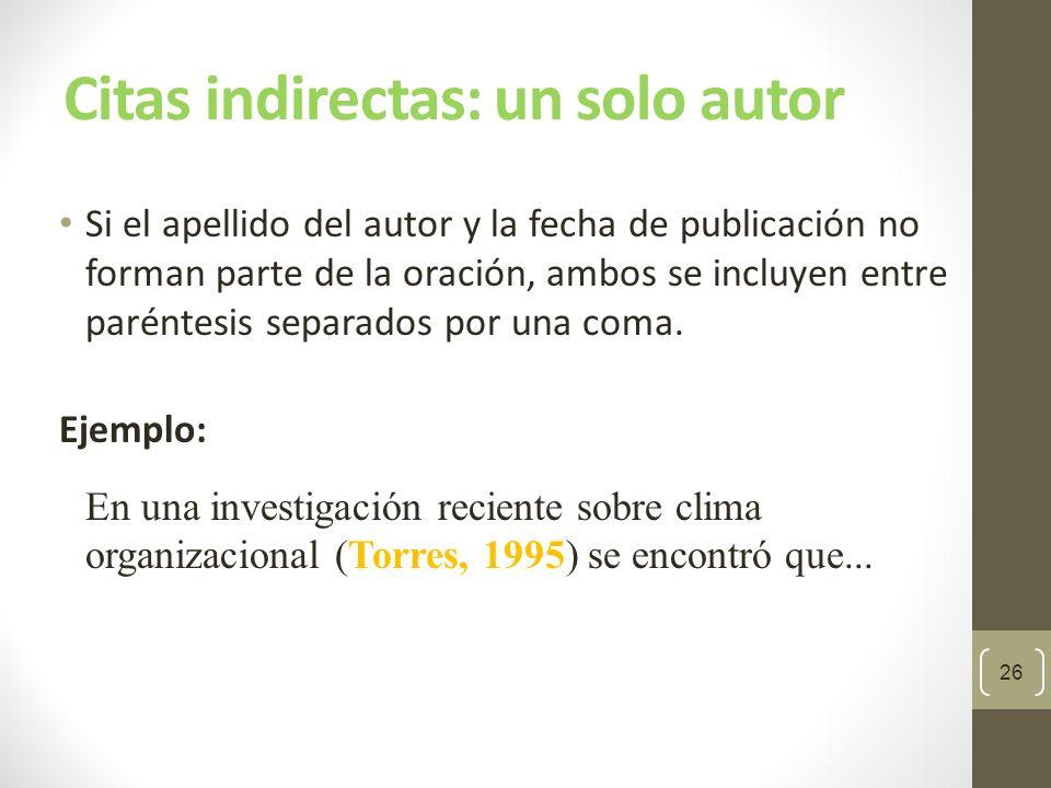Citas indirectas: un solo autor Si el apellido del autor y la fecha de publicación son parte de la oración, no se usa el paréntesis.