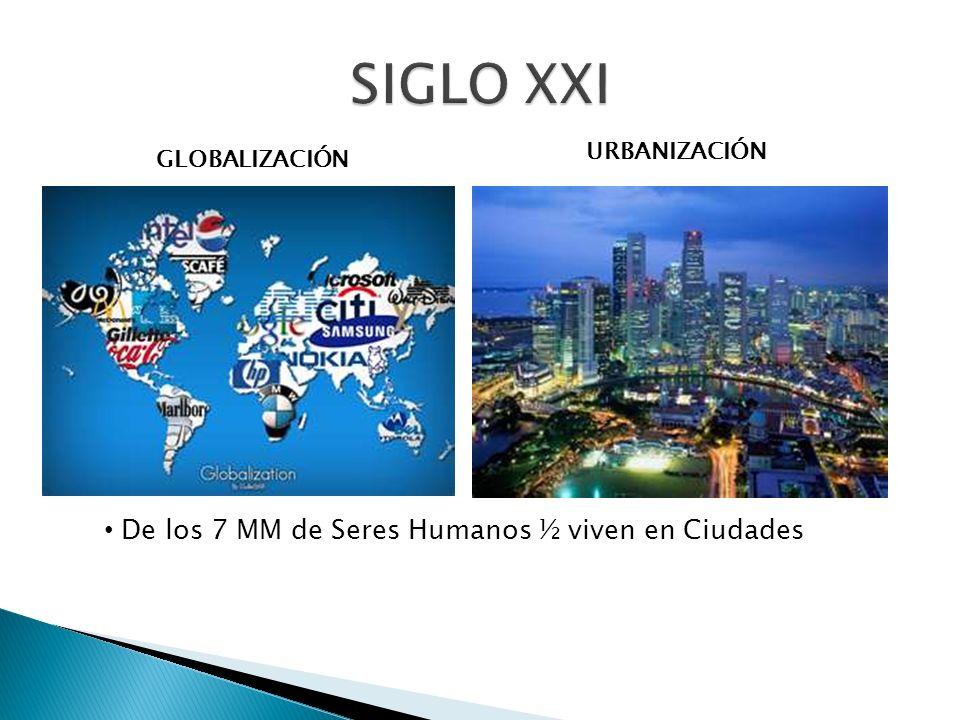De los 7 MM de Seres Humanos ½ viven en Ciudades GLOBALIZACIÓN URBANIZACIÓN