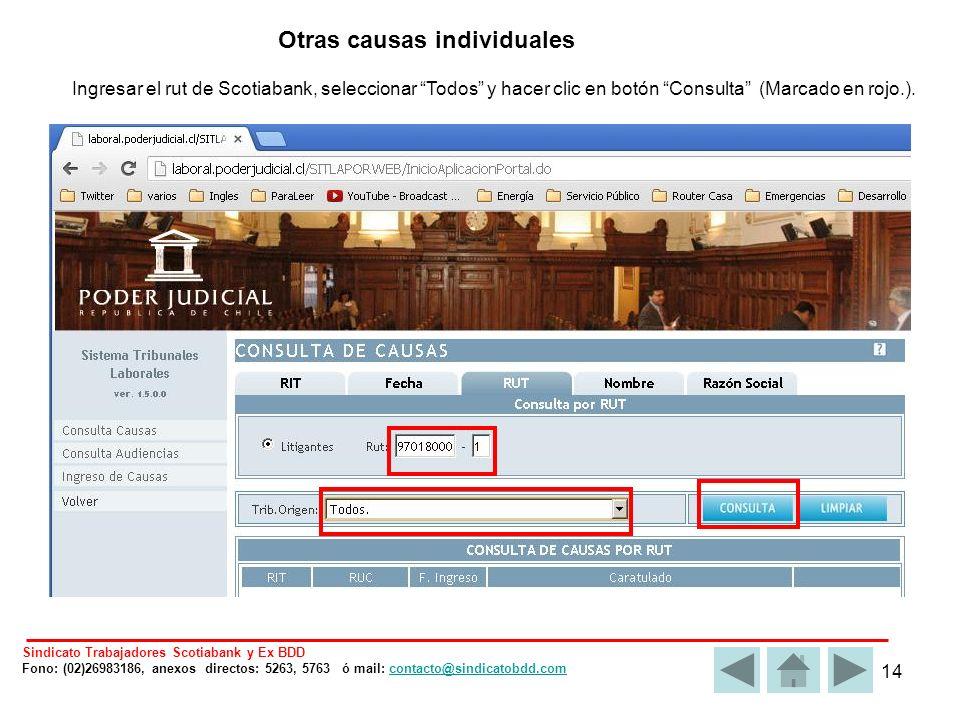 14 Otras causas individuales Ingresar el rut de Scotiabank, seleccionar Todos y hacer clic en botón Consulta (Marcado en rojo.).