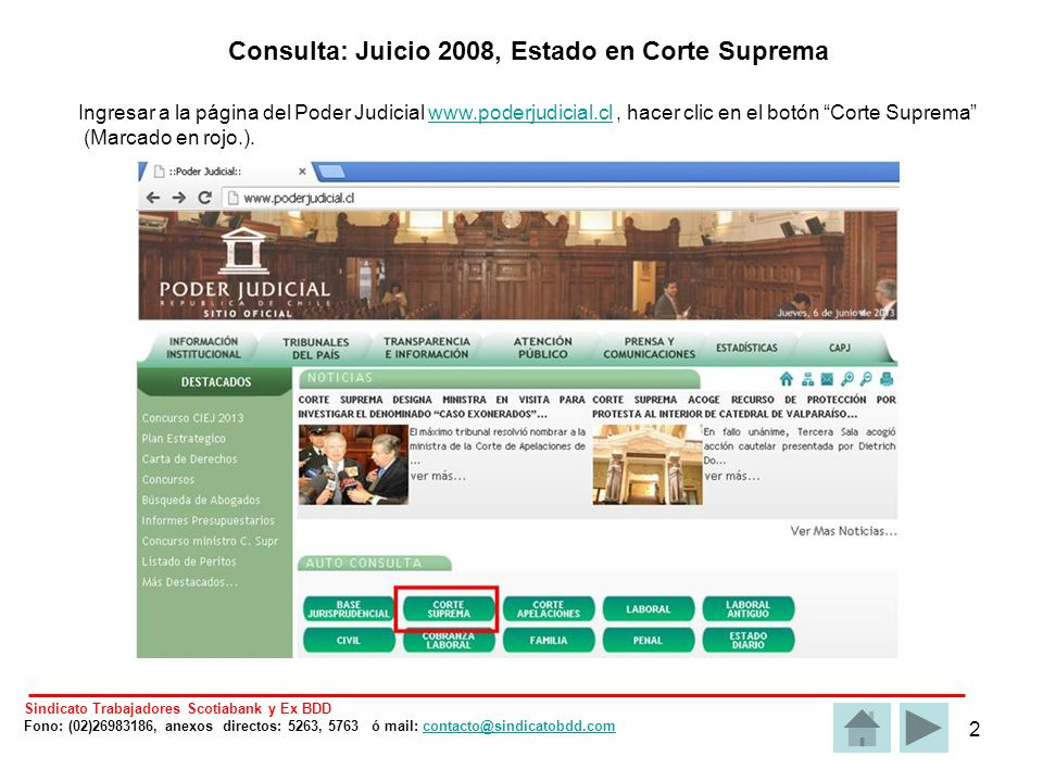 13 Otras causas individuales Ingresar a la página del Poder Judicial www.poderjudicial.cl, hacer clic en el botón Laboralwww.poderjudicial.cl (Marcado en rojo.).