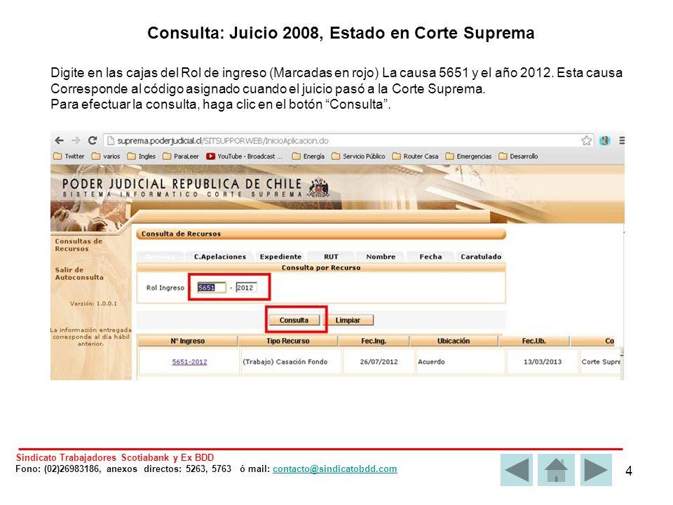 4 Digite en las cajas del Rol de ingreso (Marcadas en rojo) La causa 5651 y el año 2012.