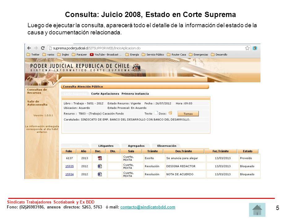 5 Luego de ejecutar la consulta, aparecerá todo el detalle de la información del estado de la causa y documentación relacionada.