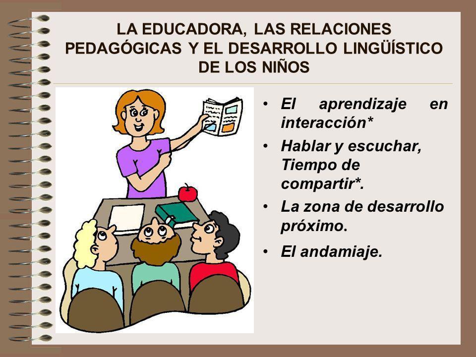 LA EDUCADORA, LAS RELACIONES PEDAGÓGICAS Y EL DESARROLLO LINGÜÍSTICO DE LOS NIÑOS El aprendizaje en interacción* Hablar y escuchar, Tiempo de comparti