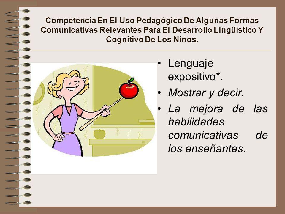 Competencia En El Uso Pedagógico De Algunas Formas Comunicativas Relevantes Para El Desarrollo Lingüístico Y Cognitivo De Los Niños. Lenguaje expositi