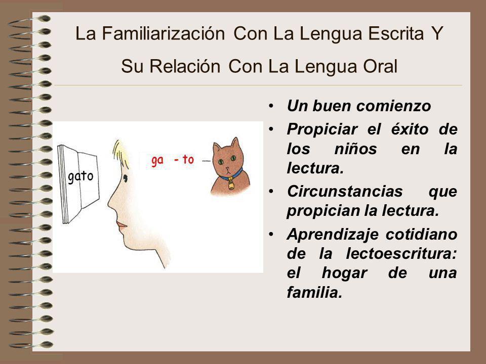 La Familiarización Con La Lengua Escrita Y Su Relación Con La Lengua Oral Un buen comienzo Propiciar el éxito de los niños en la lectura. Circunstanci