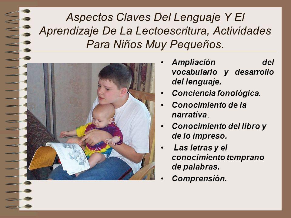 Aspectos Claves Del Lenguaje Y El Aprendizaje De La Lectoescritura, Actividades Para Niños Muy Pequeños. Ampliación del vocabulario y desarrollo del l