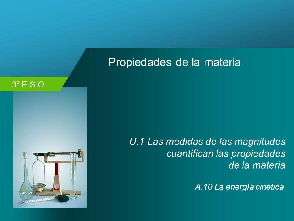 3º E.S.O. Propiedades de la materia U.1 Las medidas de las magnitudes cuantifican las propiedades de la materia A.10 La energía cinética