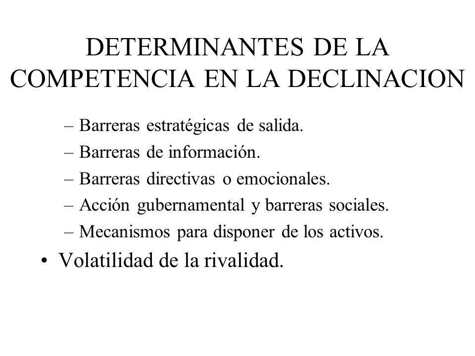 DETERMINANTES DE LA COMPETENCIA EN LA DECLINACION –Barreras estratégicas de salida. –Barreras de información. –Barreras directivas o emocionales. –Acc