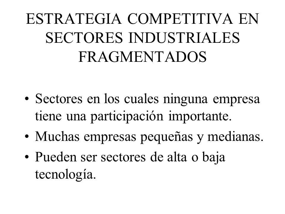 ESTRATEGIA COMPETITIVA EN SECTORES INDUSTRIALES FRAGMENTADOS Sectores en los cuales ninguna empresa tiene una participación importante.