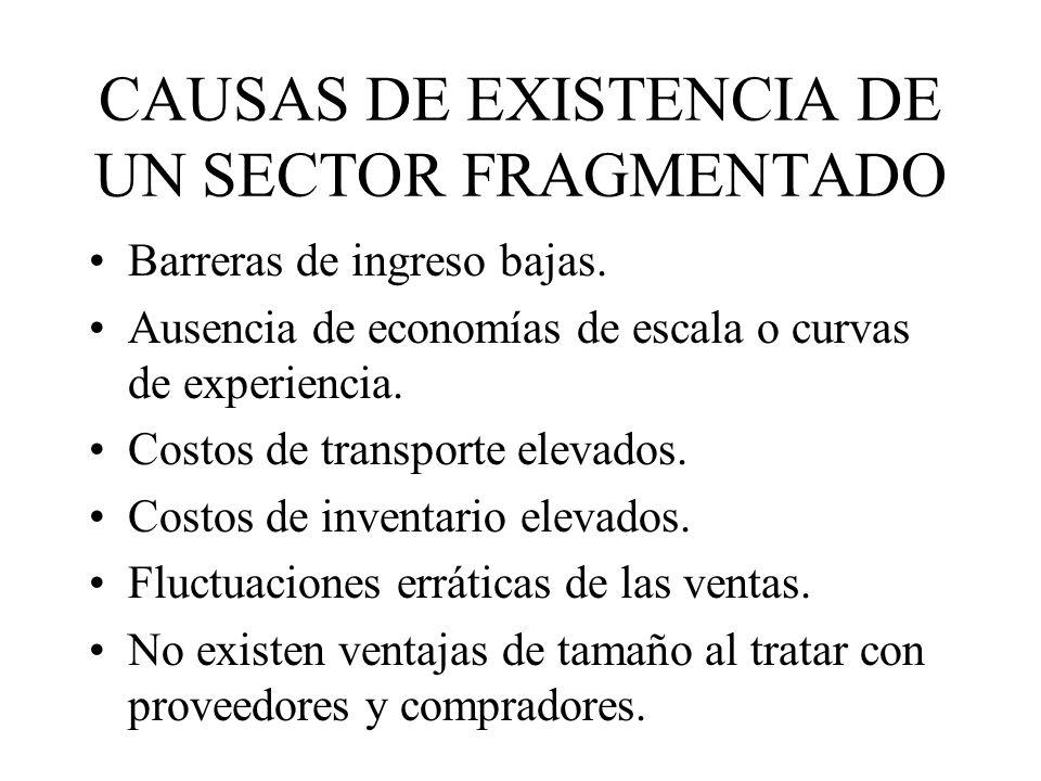 CAUSAS DE EXISTENCIA DE UN SECTOR FRAGMENTADO Barreras de ingreso bajas.
