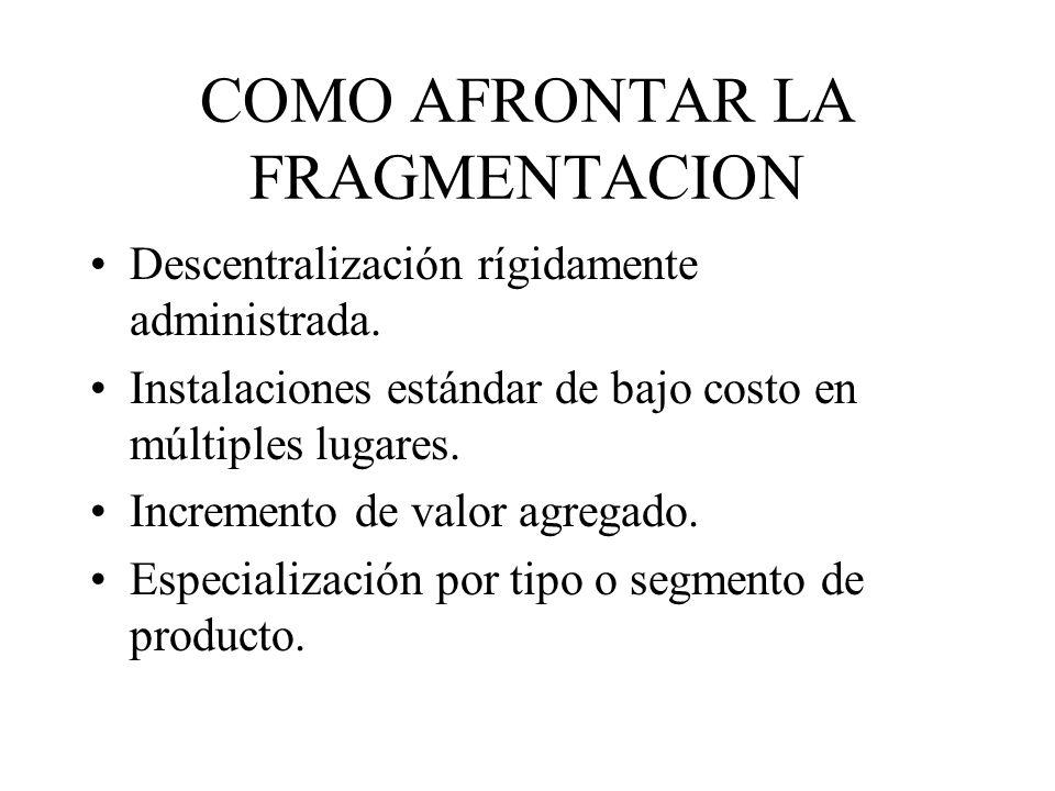 COMO AFRONTAR LA FRAGMENTACION Descentralización rígidamente administrada.