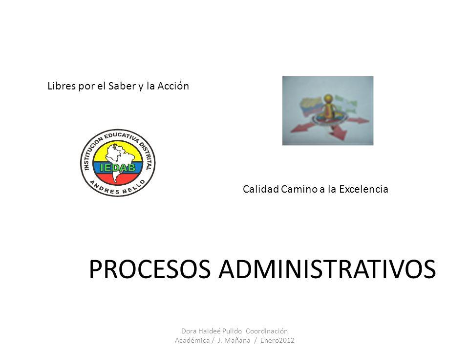 PROCESOS ADMINISTRATIVOS Libres por el Saber y la Acción Calidad Camino a la Excelencia Dora Haideé Pulido Coordinación Académica / J. Mañana / Enero2