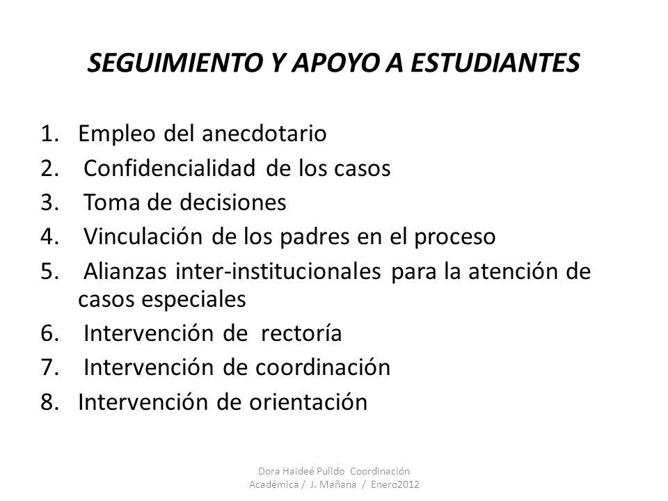 SEGUIMIENTO Y APOYO A ESTUDIANTES Dora Haideé Pulido Coordinación Académica / J. Mañana / Enero2012