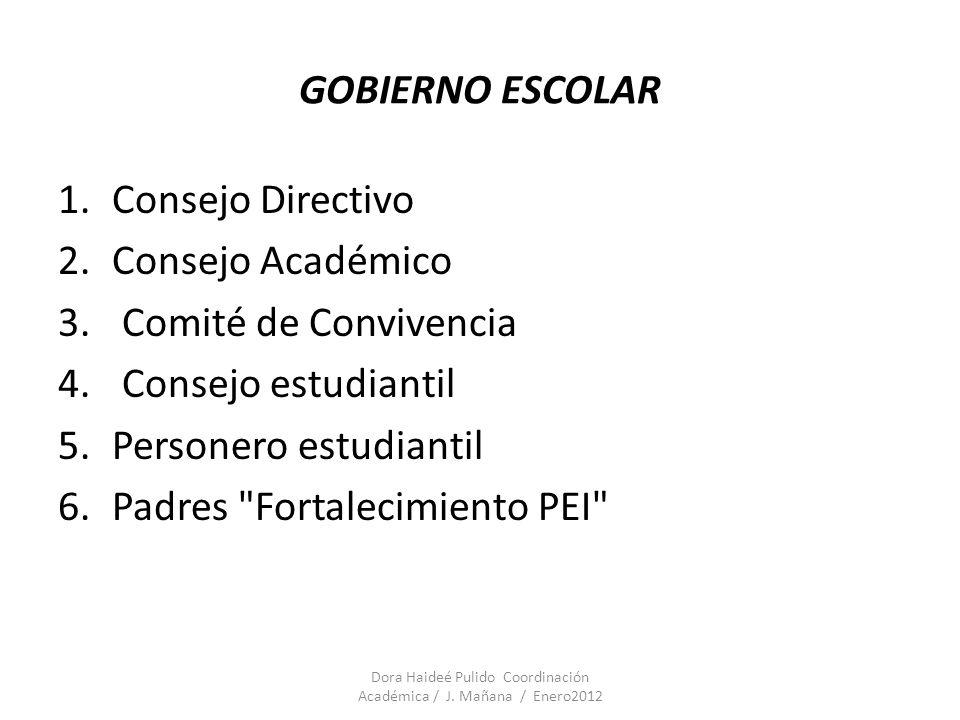 GOBIERNO ESCOLAR 1.Consejo Directivo 2.Consejo Académico 3. Comité de Convivencia 4. Consejo estudiantil 5.Personero estudiantil 6.Padres