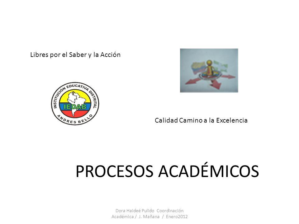 PROCESOS ACADÉMICOS Libres por el Saber y la Acción Calidad Camino a la Excelencia Dora Haideé Pulido Coordinación Académica / J. Mañana / Enero2012
