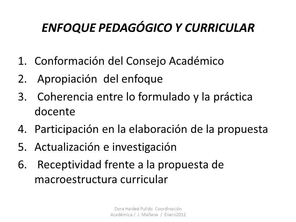 ENFOQUE PEDAGÓGICO Y CURRICULAR 1.Conformación del Consejo Académico 2. Apropiación del enfoque 3. Coherencia entre lo formulado y la práctica docente