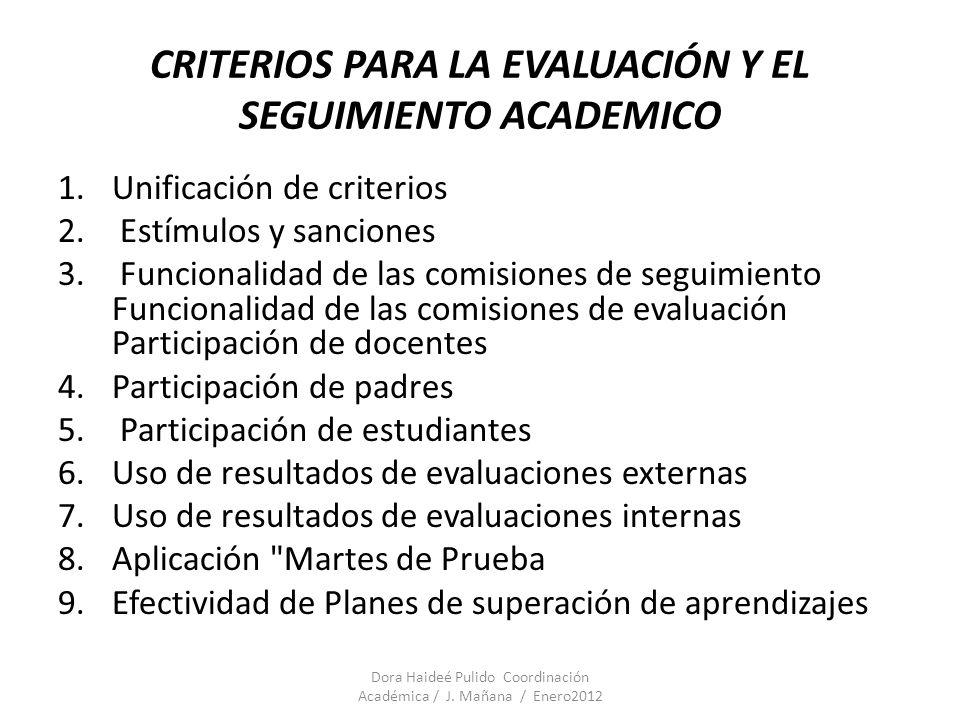 CRITERIOS PARA LA EVALUACIÓN Y EL SEGUIMIENTO ACADEMICO 1.Unificación de criterios 2. Estímulos y sanciones 3. Funcionalidad de las comisiones de segu