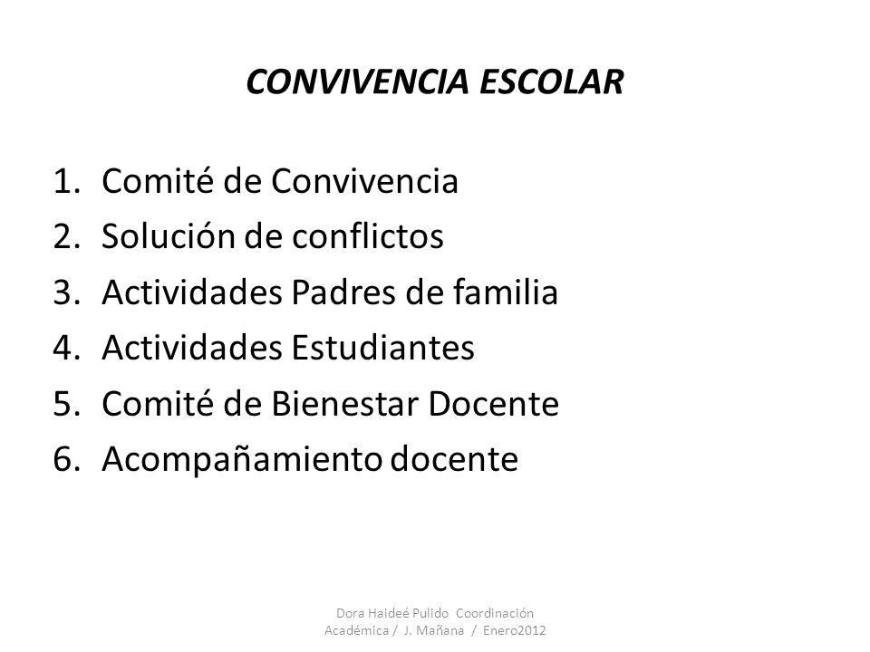 CONVIVENCIA ESCOLAR 1.Comité de Convivencia 2.Solución de conflictos 3.Actividades Padres de familia 4.Actividades Estudiantes 5.Comité de Bienestar D