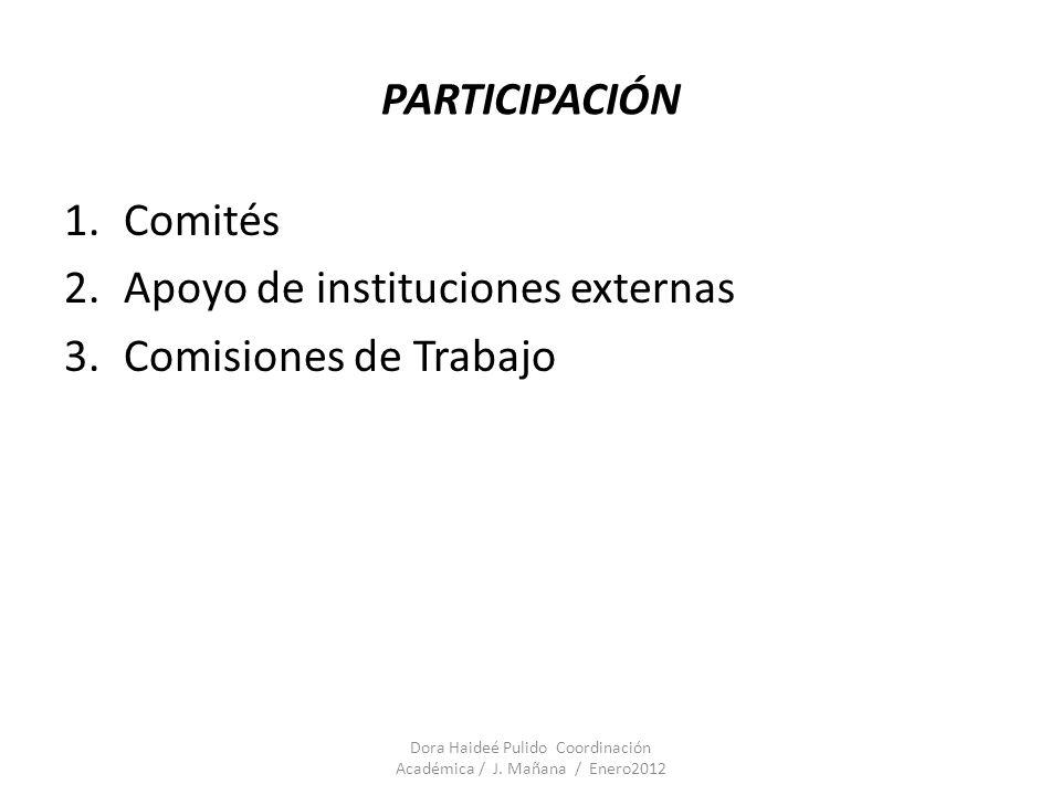 PARTICIPACIÓN 1.Comités 2.Apoyo de instituciones externas 3.Comisiones de Trabajo Dora Haideé Pulido Coordinación Académica / J. Mañana / Enero2012