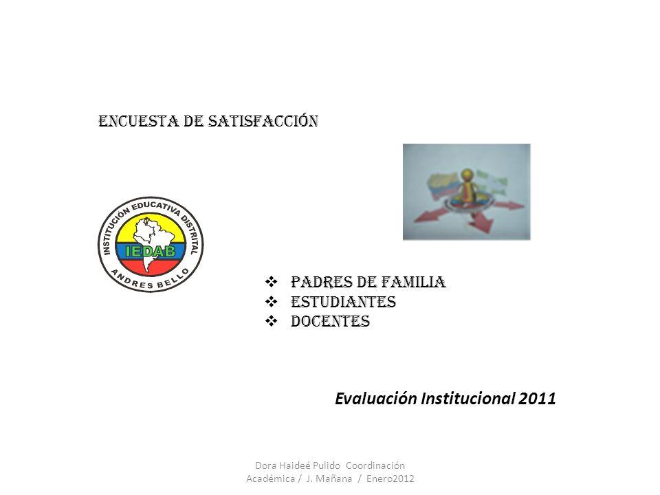 Evaluación Institucional 2011 Encuesta de satisfacción Padres de familia Estudiantes docentes Dora Haideé Pulido Coordinación Académica / J. Mañana /
