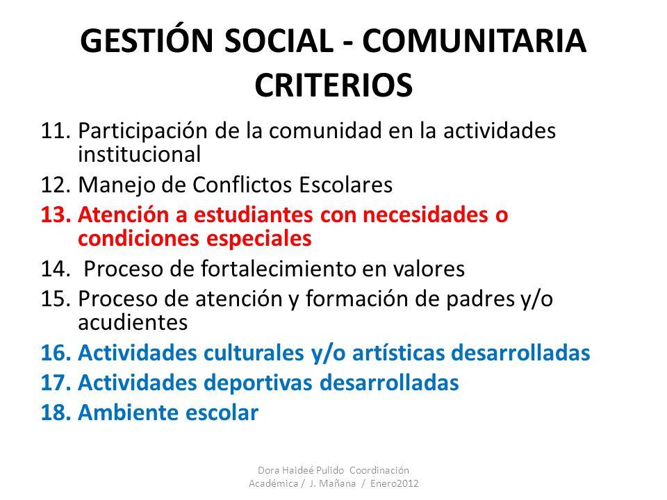 GESTIÓN SOCIAL - COMUNITARIA CRITERIOS 11.Participación de la comunidad en la actividades institucional 12.Manejo de Conflictos Escolares 13.Atención