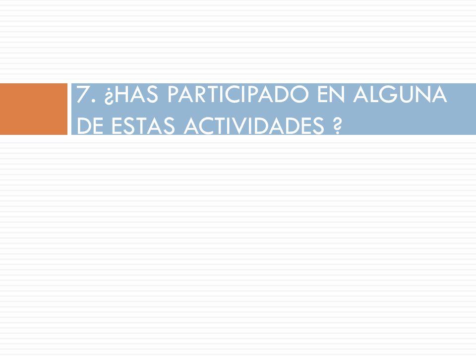 7. ¿HAS PARTICIPADO EN ALGUNA DE ESTAS ACTIVIDADES