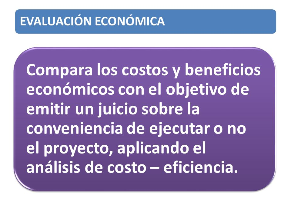 EVALUACIÓN ECONÓMICA Compara los costos y beneficios económicos con el objetivo de emitir un juicio sobre la conveniencia de ejecutar o no el proyecto, aplicando el análisis de costo – eficiencia.