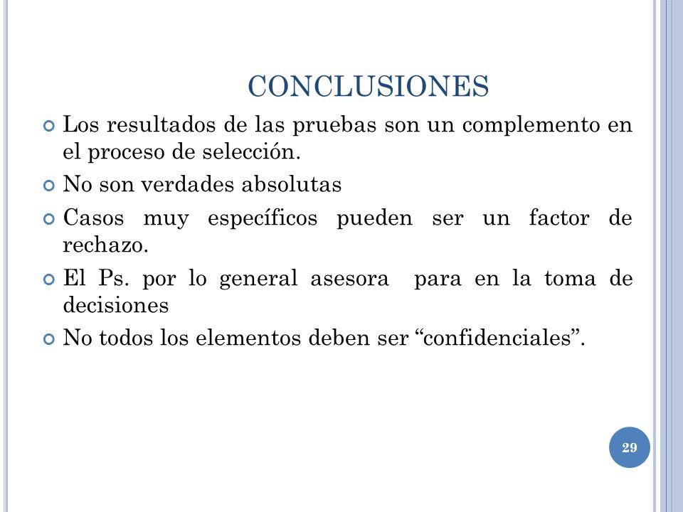 CONCLUSIONES Los resultados de las pruebas son un complemento en el proceso de selección.