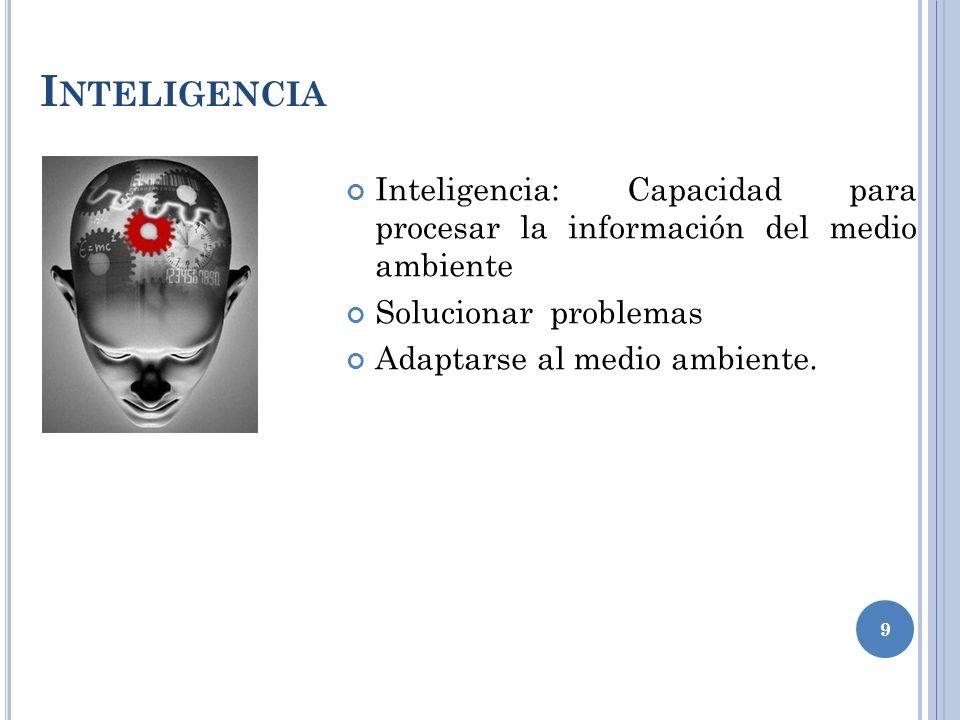 I NTELIGENCIA Inteligencia: Capacidad para procesar la información del medio ambiente Solucionar problemas Adaptarse al medio ambiente.