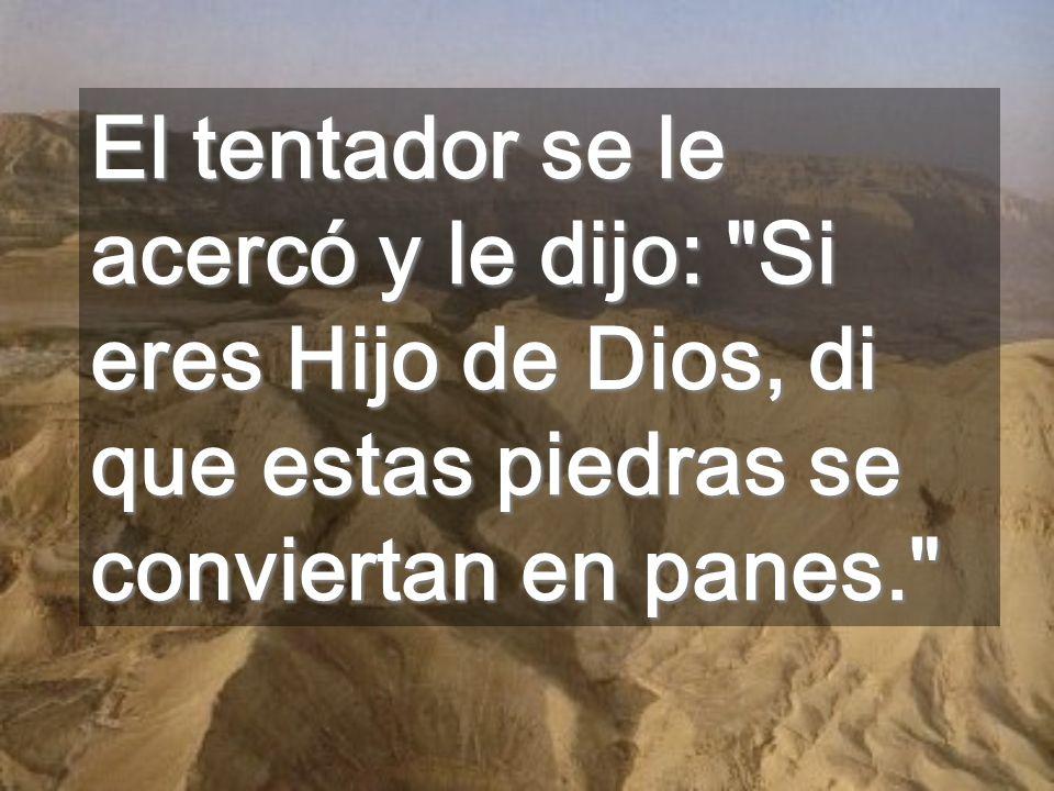 El tentador se le acercó y le dijo: Si eres Hijo de Dios, di que estas piedras se conviertan en panes.