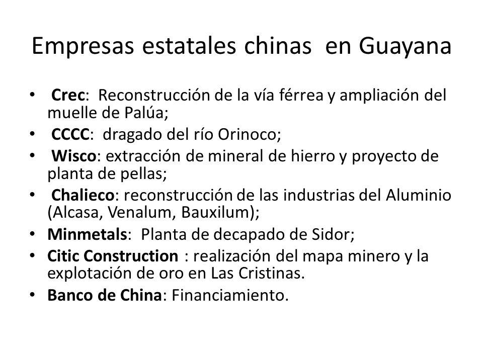 Empresas estatales chinas en Guayana Crec : Reconstrucción de la vía férrea y ampliación del muelle de Palúa; CCCC: dragado del río Orinoco; Wisco: ex