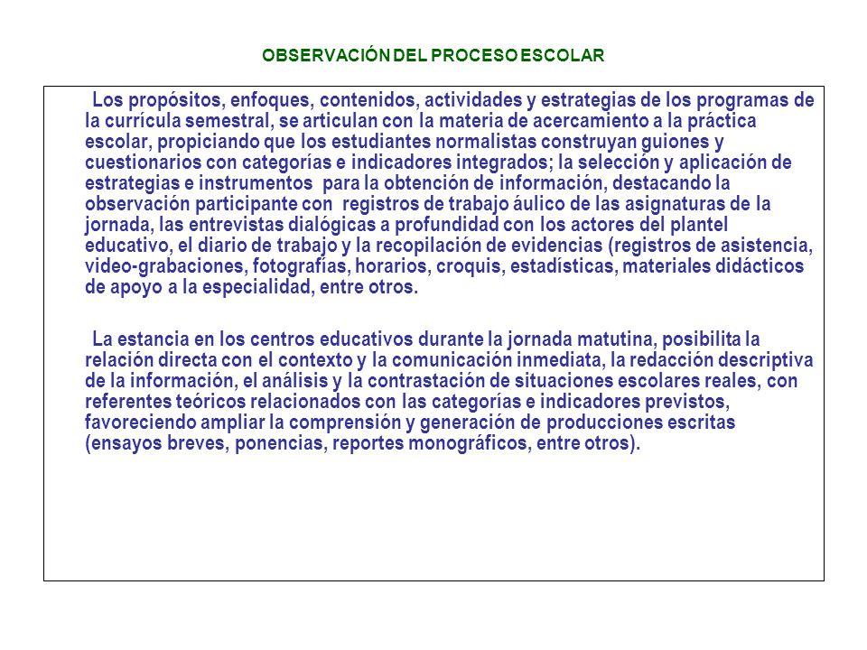 OBSERVACIÓN DEL PROCESO ESCOLAR Los propósitos, enfoques, contenidos, actividades y estrategias de los programas de la currícula semestral, se articul