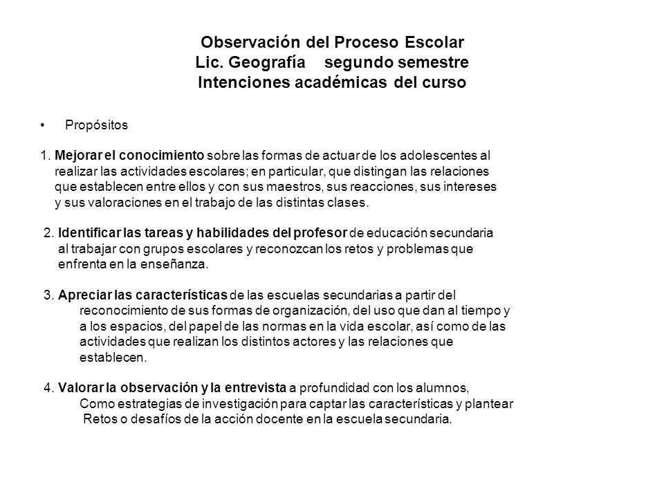 Observación del Proceso Escolar Lic. Geografía segundo semestre Intenciones académicas del curso Propósitos 1. Mejorar el conocimiento sobre las forma