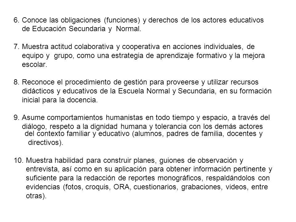 6. Conoce las obligaciones (funciones) y derechos de los actores educativos de Educación Secundaria y Normal. 7. Muestra actitud colaborativa y cooper