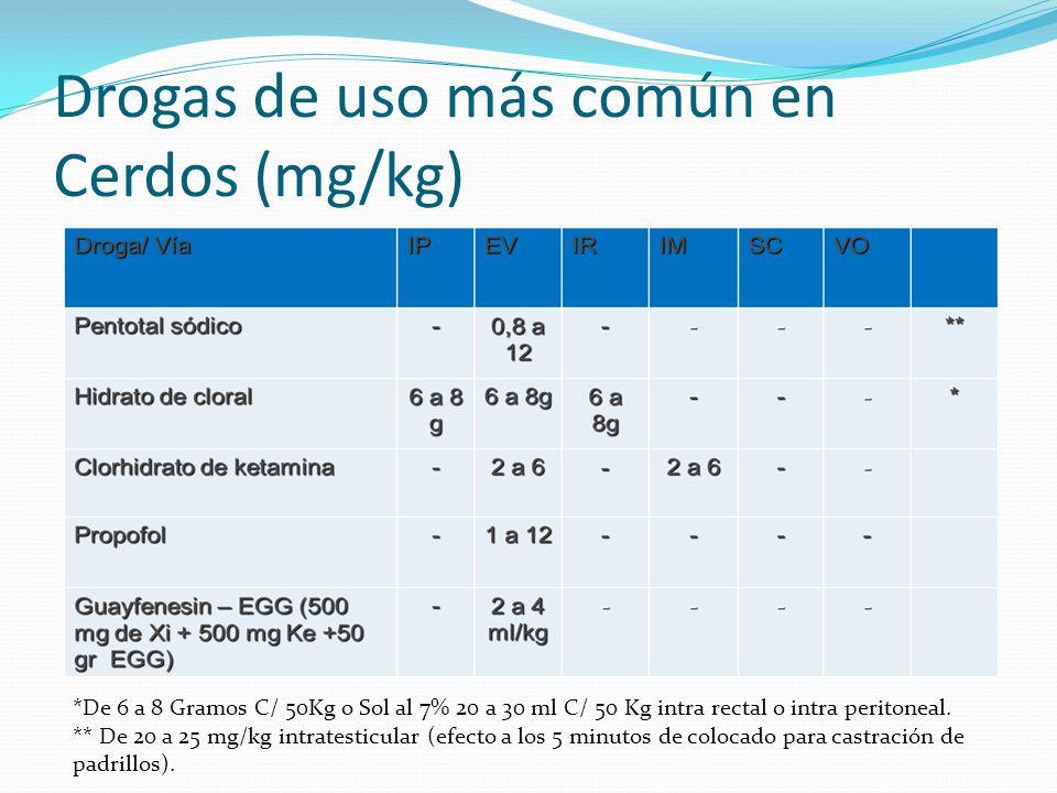 Drogas de uso más común en Cerdos (mg/kg) *De 6 a 8 Gramos C/ 50Kg o Sol al 7% 20 a 30 ml C/ 50 Kg intra rectal o intra peritoneal.