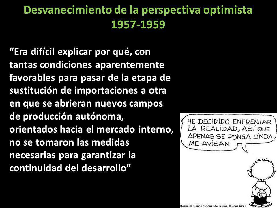 Desvanecimiento de la perspectiva optimista 1957-1959 Era difícil explicar por qué, con tantas condiciones aparentemente favorables para pasar de la e