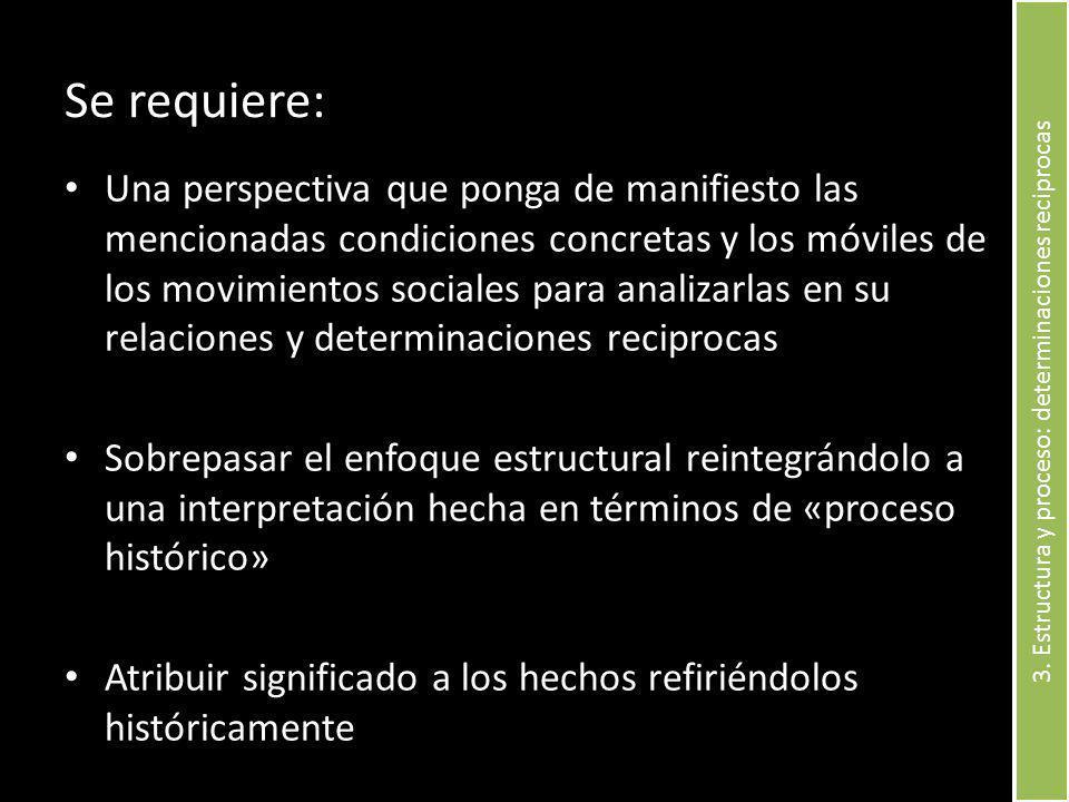 Se requiere: Una perspectiva que ponga de manifiesto las mencionadas condiciones concretas y los móviles de los movimientos sociales para analizarlas