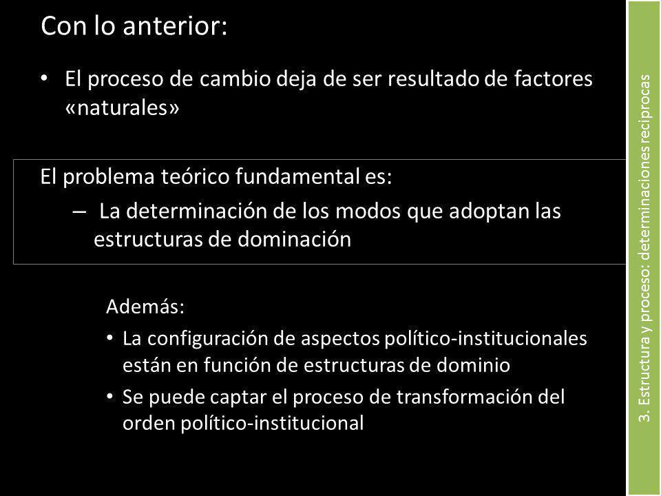 Con lo anterior: El proceso de cambio deja de ser resultado de factores «naturales» El problema teórico fundamental es: – La determinación de los modo