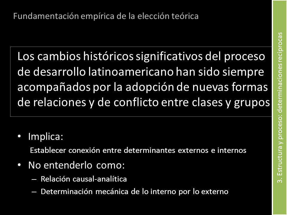 Los cambios históricos significativos del proceso de desarrollo latinoamericano han sido siempre acompañados por la adopción de nuevas formas de relaciones y de conflicto entre clases y grupos Implica: Establecer conexión entre determinantes externos e internos No entenderlo como: – Relación causal-analítica – Determinación mecánica de lo interno por lo externo Fundamentación empírica de la elección teórica 3.
