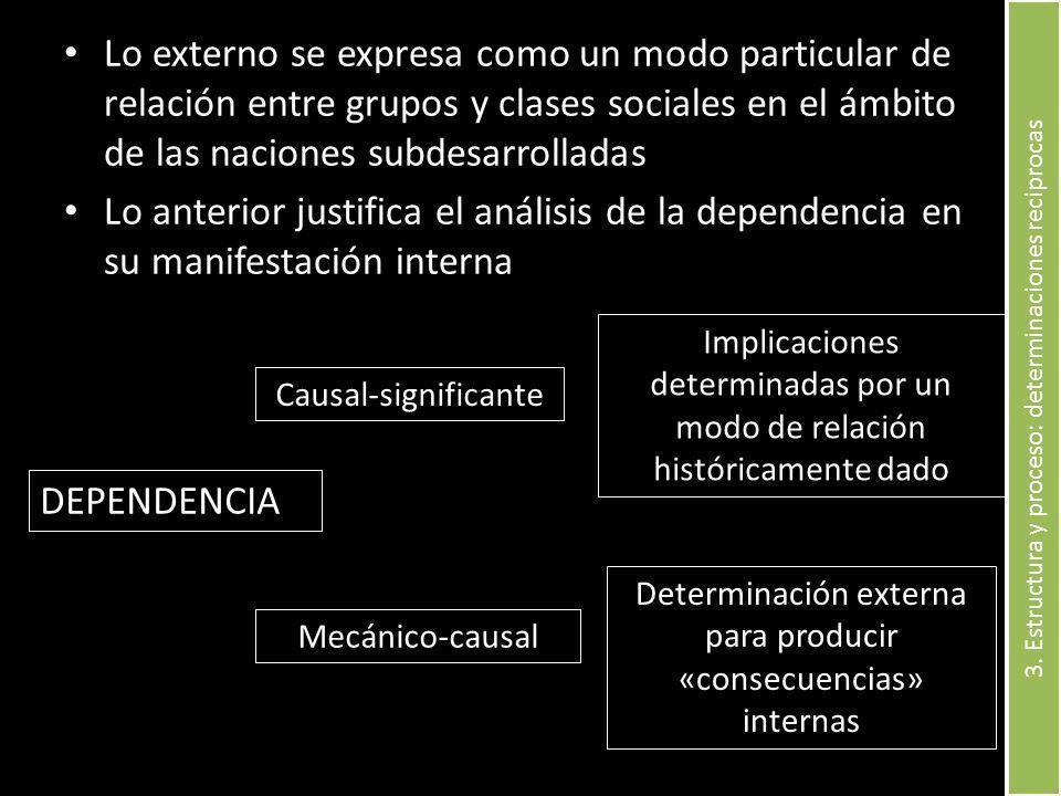 Lo externo se expresa como un modo particular de relación entre grupos y clases sociales en el ámbito de las naciones subdesarrolladas Lo anterior jus