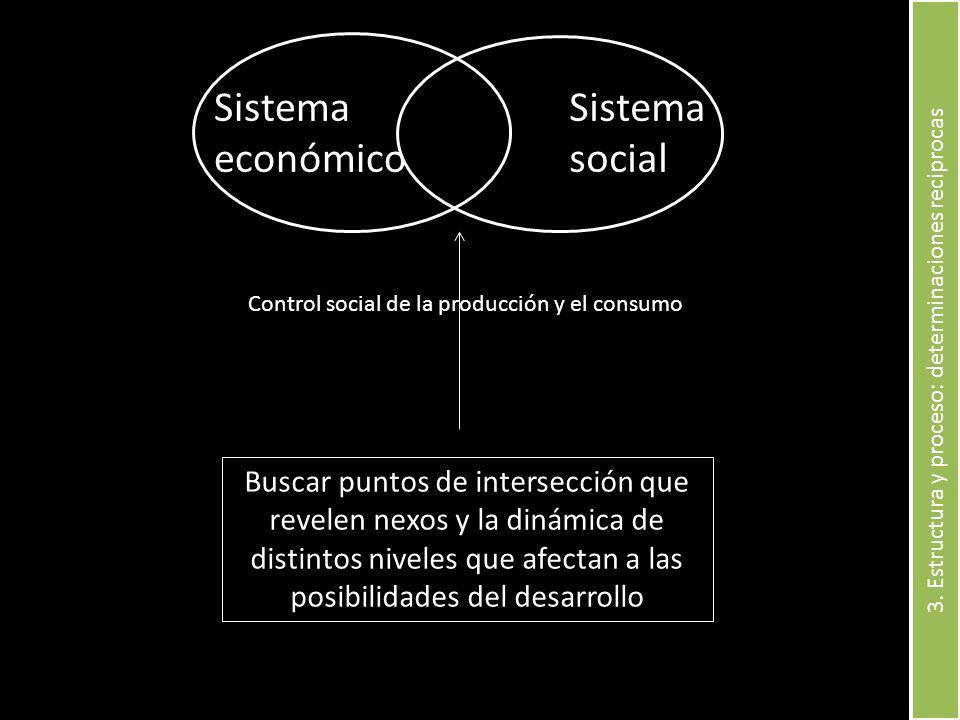 Sistema social Sistema económico Buscar puntos de intersección que revelen nexos y la dinámica de distintos niveles que afectan a las posibilidades del desarrollo Control social de la producción y el consumo 3.