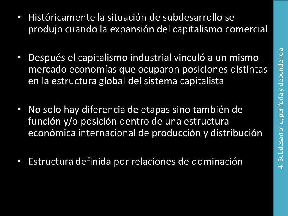 Históricamente la situación de subdesarrollo se produjo cuando la expansión del capitalismo comercial Después el capitalismo industrial vinculó a un m