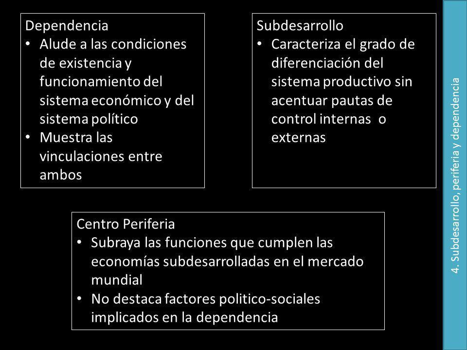 Dependencia Alude a las condiciones de existencia y funcionamiento del sistema económico y del sistema político Muestra las vinculaciones entre ambos