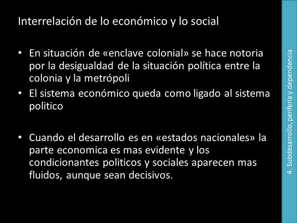 Interrelación de lo económico y lo social En situación de «enclave colonial» se hace notoria por la desigualdad de la situación política entre la colo