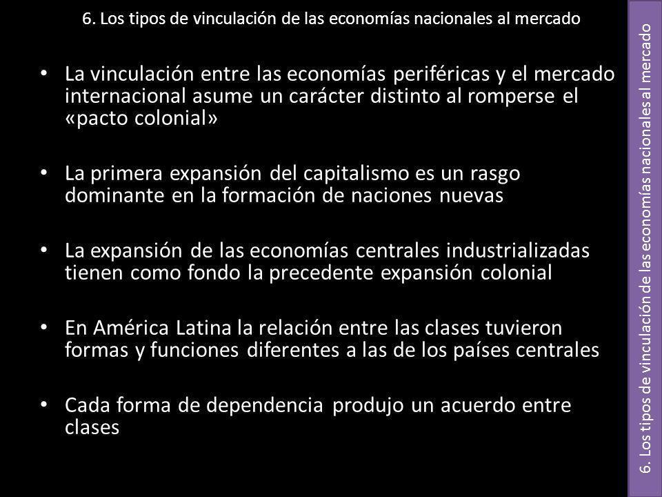 6. Los tipos de vinculación de las economías nacionales al mercado La vinculación entre las economías periféricas y el mercado internacional asume un