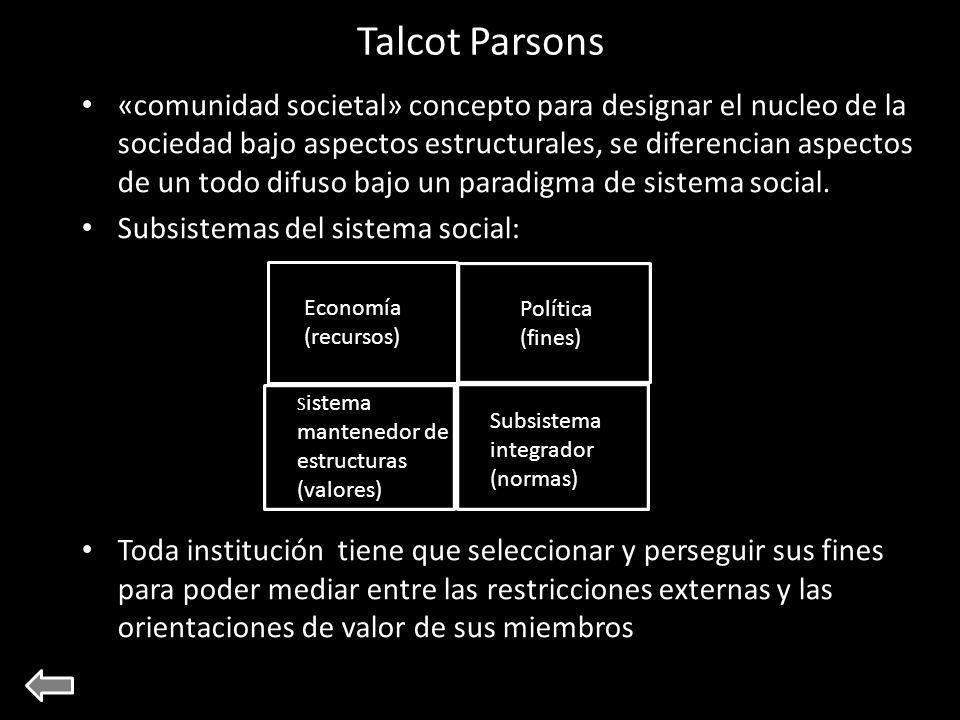 Talcot Parsons «comunidad societal» concepto para designar el nucleo de la sociedad bajo aspectos estructurales, se diferencian aspectos de un todo difuso bajo un paradigma de sistema social.