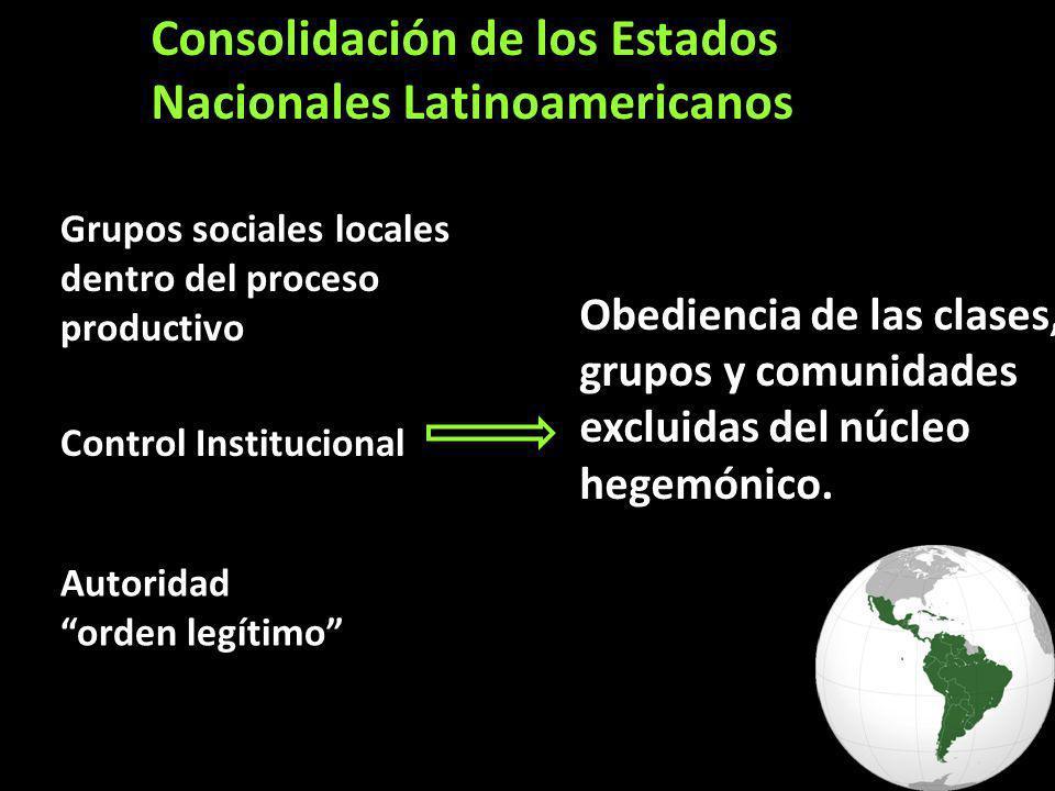Consolidación de los Estados Nacionales Latinoamericanos Grupos sociales locales dentro del proceso productivo Control Institucional Autoridad orden legítimo Obediencia de las clases, grupos y comunidades excluidas del núcleo hegemónico.