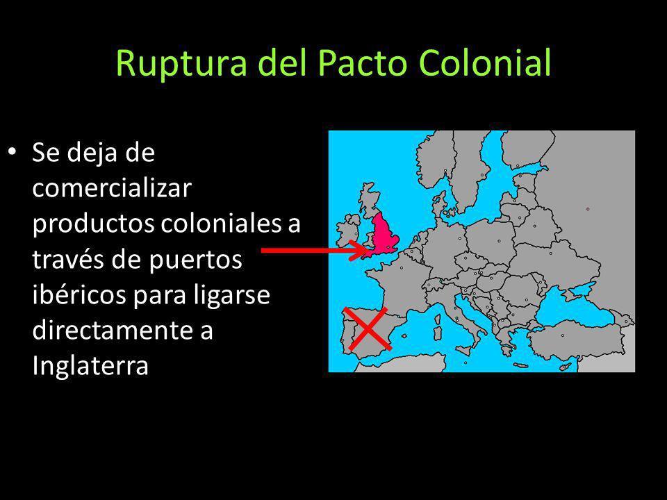 Ruptura del Pacto Colonial Se deja de comercializar productos coloniales a través de puertos ibéricos para ligarse directamente a Inglaterra